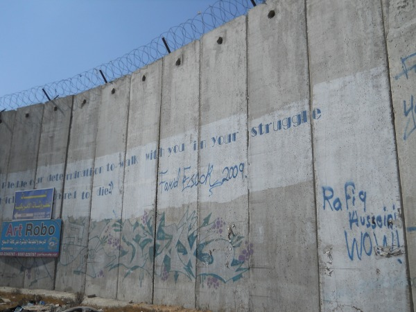 The apartheid wall with graffiti