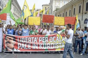 Kurdish community in Italy protesting for Ocalan's release. Photo courtesy demotix.com