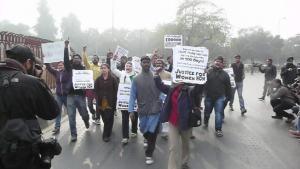 Protestors Approaching Sabz Burj, Nizamuddin