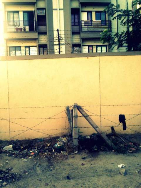 An apartment wall at the Hindu-Muslim 'border'