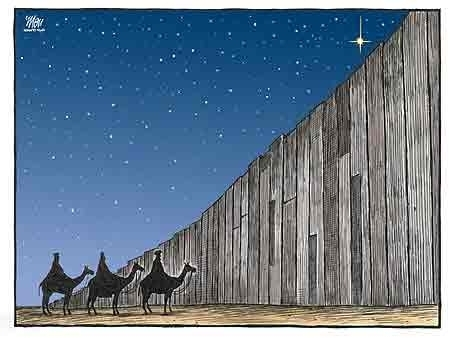 The 3 Wise Men blocked by Israels Apartheid Wall