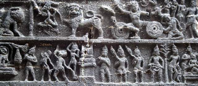Cross-section of a frieze in Cave 16, or the Kailasa Temple
