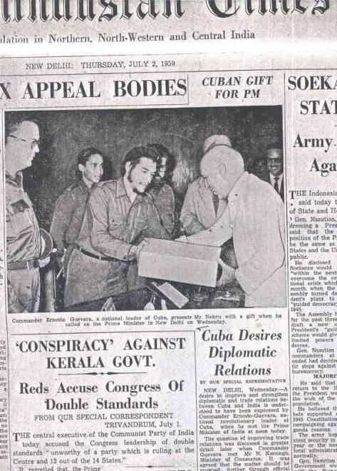 Part of the front page of the Hindustan Times on 2 July 1959