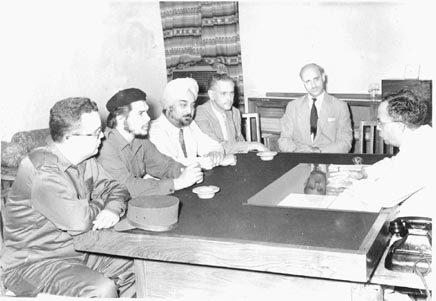 The Union Minister of Commerce, Mr. Nityanand Kanoongo with the Cuban delegation led by Che Guevara in the Minister's office on July 1, 1959.