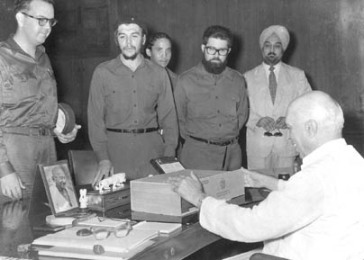 Prime Minister Mr. Jawahar Lal Nehru in a happy mood after receiving a box of cigars as gift from the Cuban delegation. July 1, 1959. Photo courtesy Photo Division, Government of India
