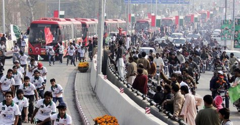 At the launch of the Metro Bus service in Lahore in February this year. Photo credit: Sajid Rana / Dawn.com