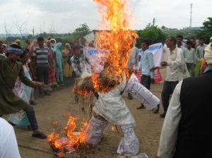 Burning the Effigy of Nuclear Power at Chutka
