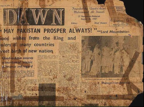 Front Page of 'Dawn', Independence Day, 1947