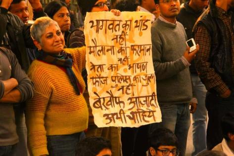 Poster Against Mohan Bhagwat - RSS Supremo, for his misogynist comments, 26 January Protest in Delhi - Photograph by Monica Dawar