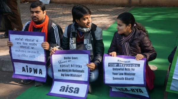 PROTESTERS AT SIT IN AGAINST RACISM, JANTAR MANTAR, SUNDAY, JANUARY 19, 2014