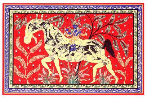 Krishna with gopis - composite image