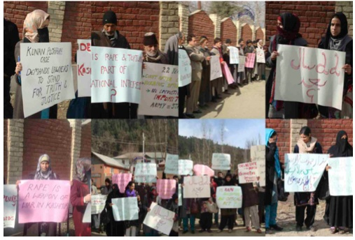 Images from protests outside the Kupwara Sessions Court