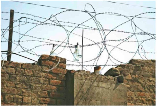 Army camps in Kashmir, such as the ones that line both sides of the highway to Kupwara are often fenced with barb wire strung with hundreds of alcohol bottles 'hanging like the bodies of condemed men', as  a member of the Support Group once remarked Photo: 'Military Calligraphy' by Parthiv Shah from his Barbed Wire and Beautiful Skies Series