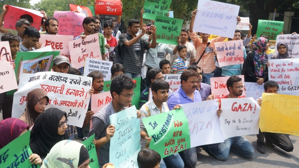 Protestors with Signs against Israeli State's Aggression on Gaza, in front of the Israeli Embassy in New Delhi, 13th July, 2014