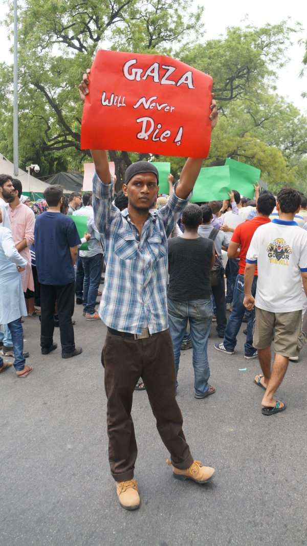 Protestor in front of the Israeli Embassy in Delhi on Sunday, 13th July 2014
