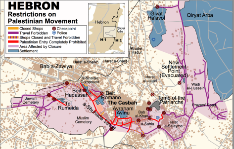 The map of Hebron showing streets that Palestinians are prohibited from walking and/driving on. Image Courtesy: Breaking the Silence