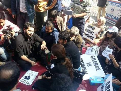 Jibran Nasir and his Friends at the Protest in Karachi