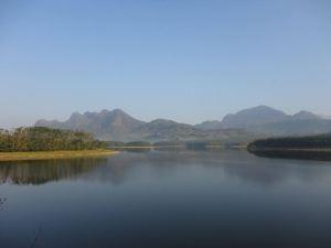 The tranquil lake at its foot.