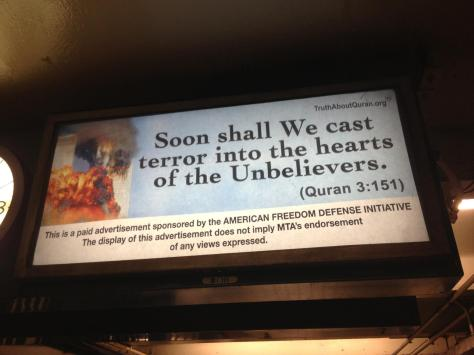 Islamophobic Ads in the MTA Transport Network in the USA