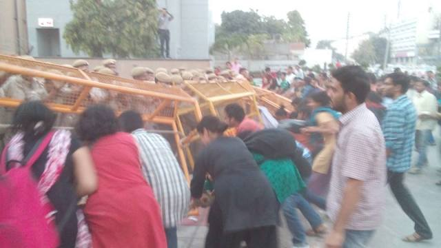 Students at the Police Barricades - #OccupyUGC