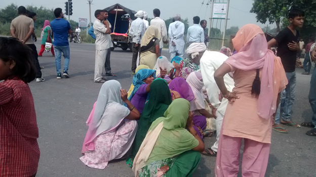 Angry Dalit women protesting against police inaction in the Sunped atrocity on October 21 near Sunped, Haryana