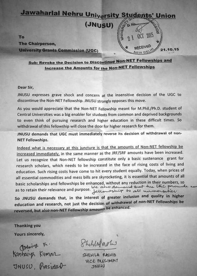 JNUSU's Letter to UGC on October 21, 2015