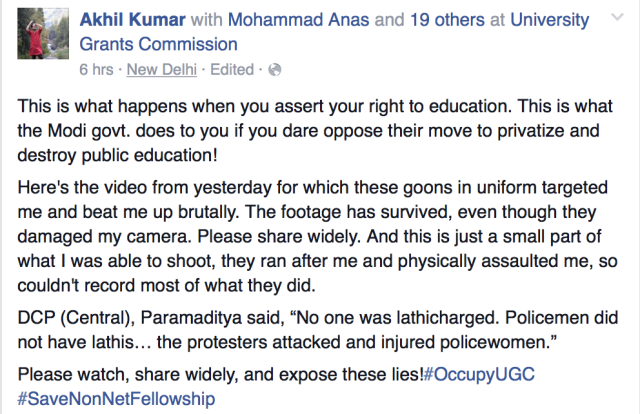 Post on Akhil Kumar's Facebook Wall