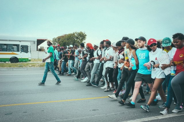 student march to the airport in cape town photo cred - Barry Christianson