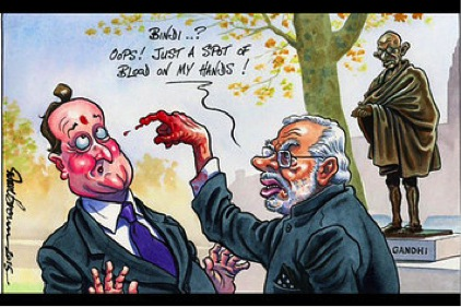 Modi bloody finger cartoon