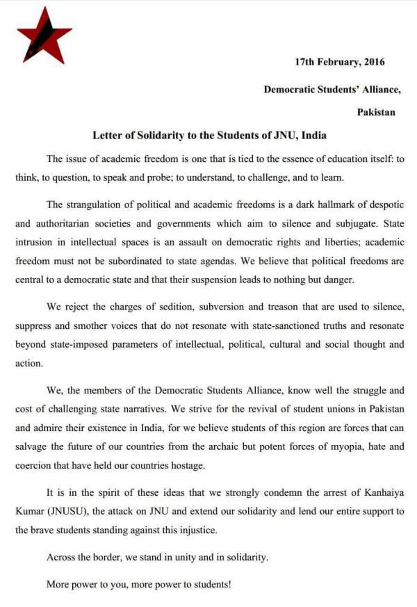 DSA Pakistan Letter of Solidarity