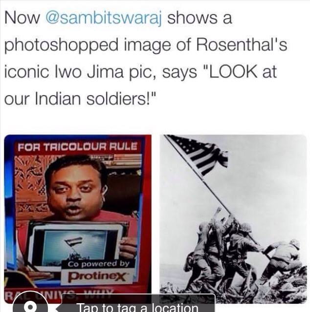Sambit Patra on Times Now Debate on Flags in Universities with Photoshopped Iwo Jima Picture