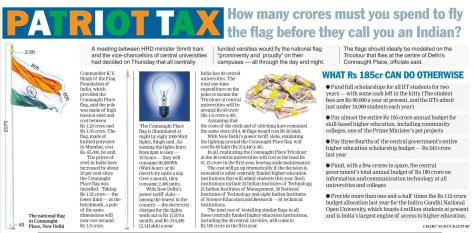 'Telegraph' Story on the Costs of the Giant Flag in Indian Universities Proposal