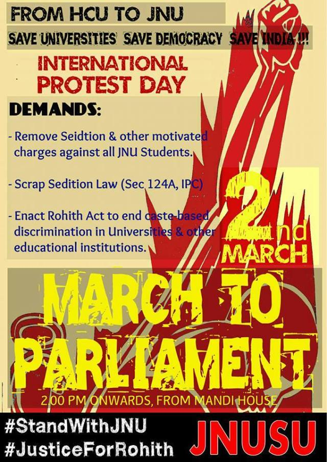 Call for Global Day of Protest and March to Parliament for JNU - March 2nd, 2016