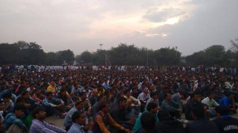 Workers Gathering at Tau Devi Lal Stadium, Gurgaon, February 19