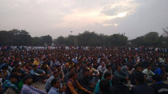 Workers Gathering at Tau Devi Lal Stadium, Gurgaon, February 19