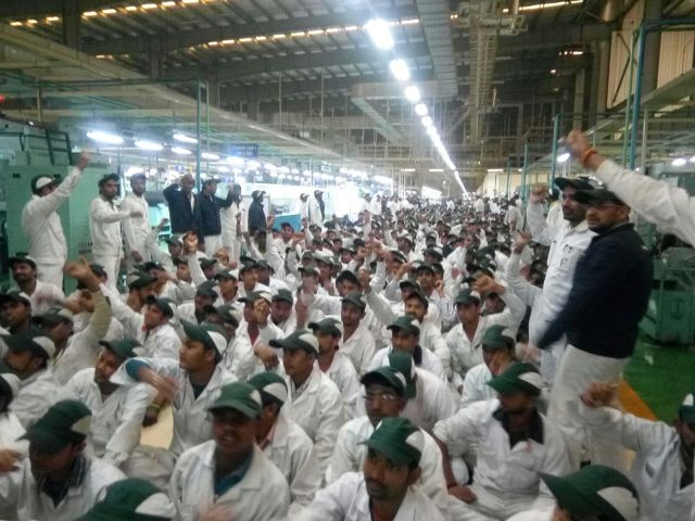 Workers Protesting Peacefully in a Sit In at the Tapukara Honda, Factory, Rajasthan on 16th February