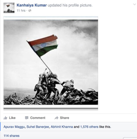 The Morphed Iwo Jima Picture on JNUSU President Kanhiya Kumar's Hacked Facebook page