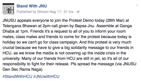 Call from BAPSA-JNU for solidarity march with Hyderabad Students on the 'Stand with JNU' Facebook Page