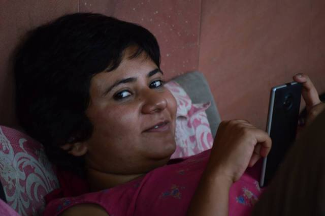 Pankhuri, taking a break to write her diary entry during the Hunger Strike. Photo, courtesy, K. Fayaz Ahmed
