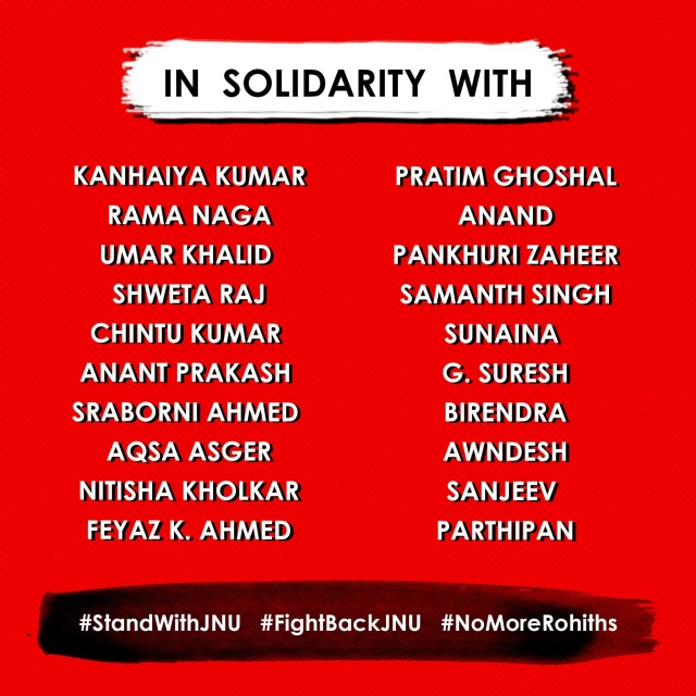 The 20 students who will be sitting in indefinite hunger strike at JNU.