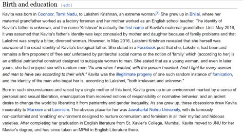 हिंदुत्व कट्टरपंथियों द्वारा संपादित कविता कृष्णन के विकिपीडिया पेज का एक अंश