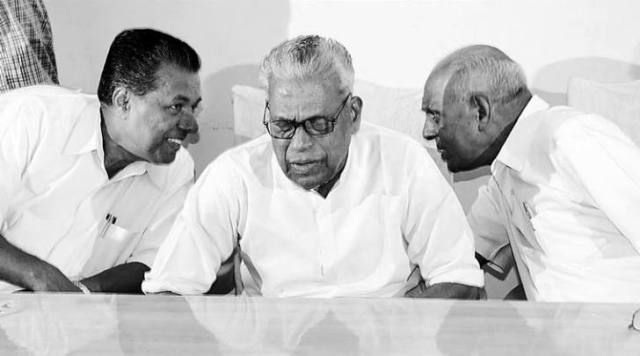 Party has two faces: V.S. Achuthanandan (centre) with Pinarayi Vijayan (left)