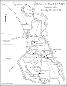 Map: Shehla Hashmi Grewal Drainage pattern of Delhi
