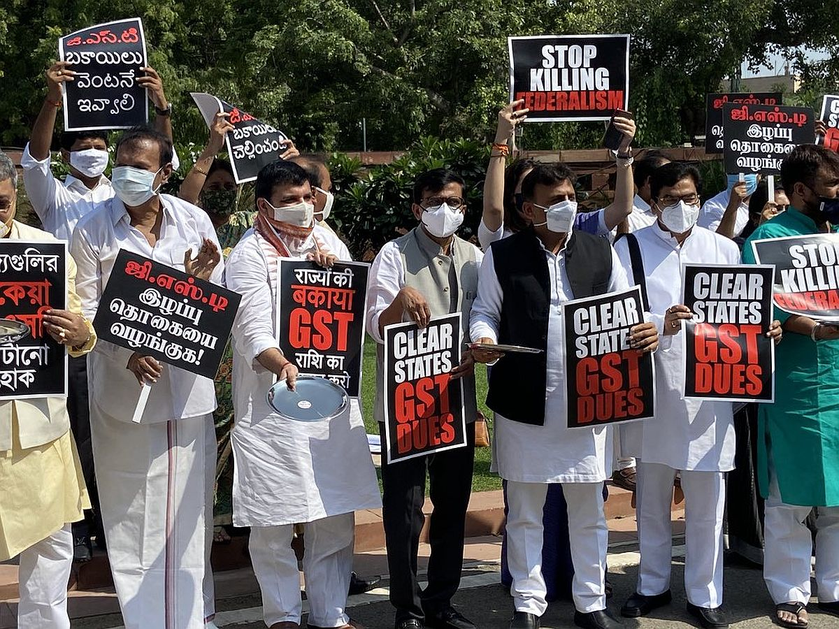 MPs demonstrtate in parliament for states' GST dues