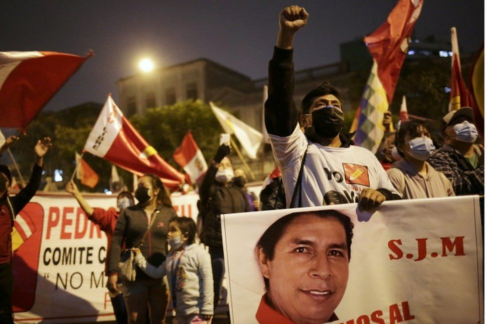 Supporters of Left Presidential candidate Pedro Castillo on the streets, image courtesy Reuters